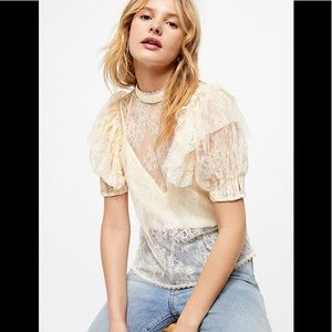 Free People Lace Ruffle Sleeve Highneck Blouse NWT